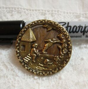 "Vintage Metal Picture Button CHERUBS SWIMMING  1 5/16"""