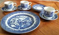 Churchill England  BLUE WILLOW 10 PC LOT  1 DINNER PLATE 3 Cups 6 Saucers  MIXED