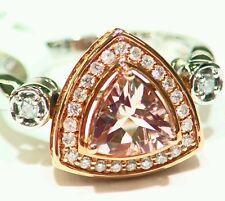 1.85CT 14K Rose Gold Natural Morganite Cut White Diamond Vintage Engagement Ring