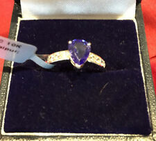 Tanzanite Zircon Solitaire with Accents Fine Rings