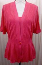 Blouse Knit 2pc Look Pink Womans Size M 100% Cotton One Button Close