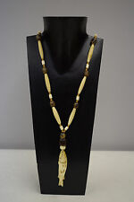 Necklace Vintage Etched Fish Pendant Philippines Betel Nut Wood Beaded Necklace