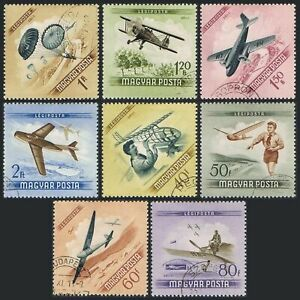 Hungary C149-C156, CTO. Michel 1376-1383. Air Post 1954. Gilders, Planes.
