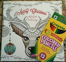 Merry Christmas Adult Coloring Book & Pencils 10x10