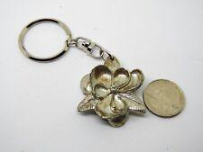 Vintage Metal Silvertone Flower Keychain Fob