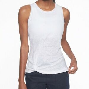 Athleta Knot Zephyr Tank Top in White 100% Linen Size Large