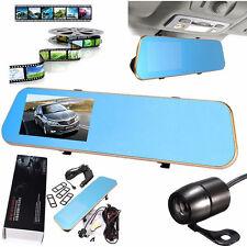 "4.3"" HD 1080P Car Rearview Mirror Dash Cam Dual Lens DVR Recorder Camera Monitor"