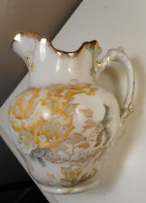 Antique Maddock's Lamberton,Porcelain, Flower Pattern Water Pitcher & match Vase