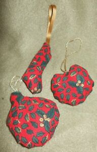 New Hand Finished Set of Small Fabric Christmas Tree Decoration with Holly