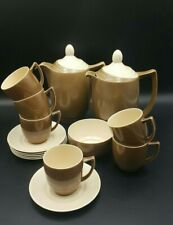 More details for branksome china brown-cream two tone part coffee set for 6-excellent condition