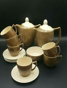 Branksome China Brown-Cream Two Tone Part Coffee Set for 6-Excellent Condition