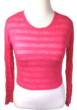 One Clothing NWT Juniors Large Long Sleeve Crew Neck Striped Top Raspberry Pink