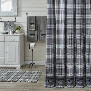 Grey Area Loon Applique Grey Black Plaid Country Farmhouse Cotton Shower Curtain