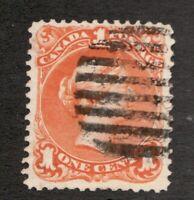 #23  Canada -  1869  -  1 Cent - Used  - F/VF - superfleas  cv $175
