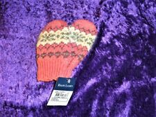 Ralph Lauren Infant Baby Girl One Size 3-6-9-12 Cotton & Wool Mittens NEW Pink