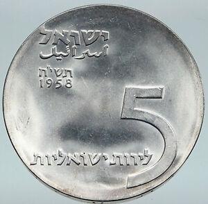 1958 ISRAEL Vintage Menorah HANNUKAH LAMP Old Proof Silver 5 Lirot Coin i87105