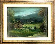 quadro dipinto a mano Antico olio su tela firmato paesaggio con cornice legno