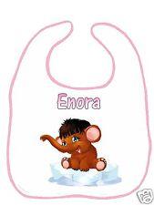 Bavoir bébé blanc bordure rose réf F05 personnalisé avec prénom