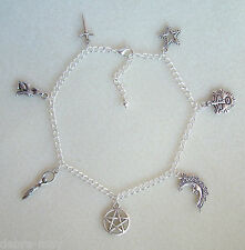 Pentagram Goddess Green Man Charm Anklet Ankle Bracelet - Wiccan Pagan Witch