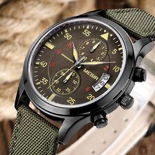 MEGIR Day Date Military Army Green Nylon Band Chronograph Analog Men Wrist Watch
