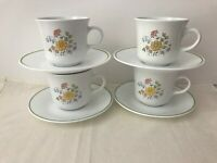 Set of 4 Vtg Corelle/Corning. Spring Meadow. 8 oz. Cups w/ Saucers. 1979. 8 Pcs.