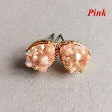 Boho Silver Gold False Druzy Ear Stud Natural Stone Quartz Earrings Size 10mm