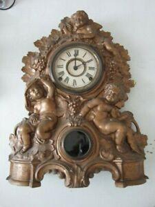 Nicholas Muller Bronze Color Metal Waterbury Clock #49 Cherub Design Pat 1856