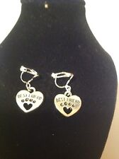 best friend paw print clip on earrings.