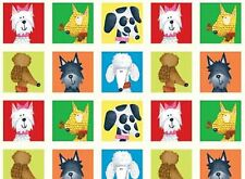 Dogs World  3 Rows, 54 Squares 100% Cotton  Fabric by Red Rooster