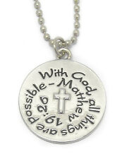 With God All Thing Are Possible Matthew 19:26 Circle Ball Chain Pendant Necklace
