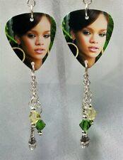 Rihanna Guitar Pick Earrings with Microphone Charm and Swarovski Crystal Dangles