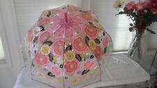 Vera Bradley Bubble Umbrella Olivia Pink see-thru canopy manual open floral NWT
