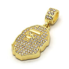 """14k Gold Plated Custom Iced Out HipHop Bling Cz Ape Pendant with 30"""" Cuban Chain"""