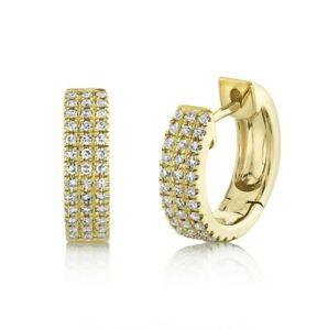 "Diamond Huggie Earrings 14K Yellow Gold Pave 0.45"" Round Cut Natural 0.21CT Hoop"