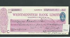 wbc. - CHEQUE FORM - USED -1920's -CH27-  WESTMINSTER BANK, SANDWICH - company