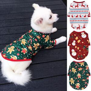 Small Dog Cat Puppy Pet Christmas T-Shirt Snowman Elf Vest Cotton Clothes Yorkie