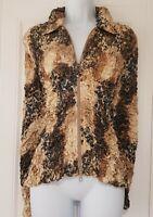 Womens Joseph Ribkoff Blue Gold Satin Crinkle Ruched Animal Evening Jacket 10.