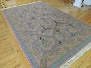 6x9 Dhurrie Reversible hand-knotted wool Oriental Area Rug blue purple