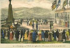 Opening Russian Monument at Culm by Allied Monarchs in 1835 - Colored Lithograph