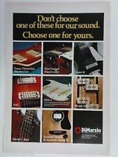 retro magazine advert 1980 DiMARZIO guitars / pickups e