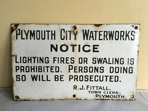 ORIGINAL QUALITY ENAMEL SIGN - PLYMOUTH CITY WATERWORKS NOTICE 12.7 by 7.8 inch