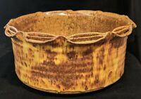 Vintage Studio Art Pottery Bowl Mottled Brown Glaze Signed Mint