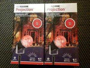 (2) Christmas Decorations Outdoor Projector Lights Red Kaleidoscope Spotlight