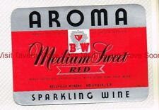 1940s SOUTH AFRICA Bellville Winery AROMA MEDIUM SWEET RED WINE Label