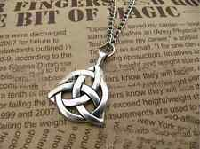 Celtic Triquetra Trinity Knot Pendant Silver  Plated Pendant Long Chain Necklace