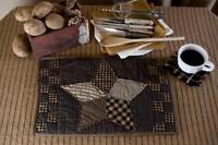 FARMHOUSE STAR Placemat Set of 2 Rustic Primitive Quilted Patchwork Black Khaki