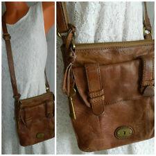 Vtg. FOSSIL Leather CROSSBODY MESSENGER Bag PURSE Cognac Brown KEY FOB   #9