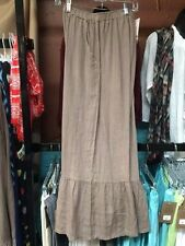 HLP196 Mocha Small NWT Match Point Linen Pant Capri Flax Ruffle Light Brown
