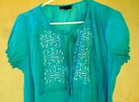 MYSTIQUE AURA 1X XL L EMBROIDERED TURQUOISE SMOCKED PEASANT CRINKLE BLOUSE WOMEN