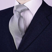 "Mens Gray Tie Snakeskin Pattern 3.5"" Wide Geometric Woven Diamond Luxury Necktie"